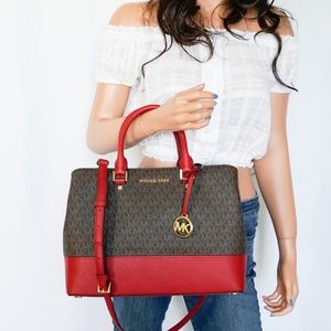 Michael Kors Savannah LG Satchel Bag Brown Scarlet